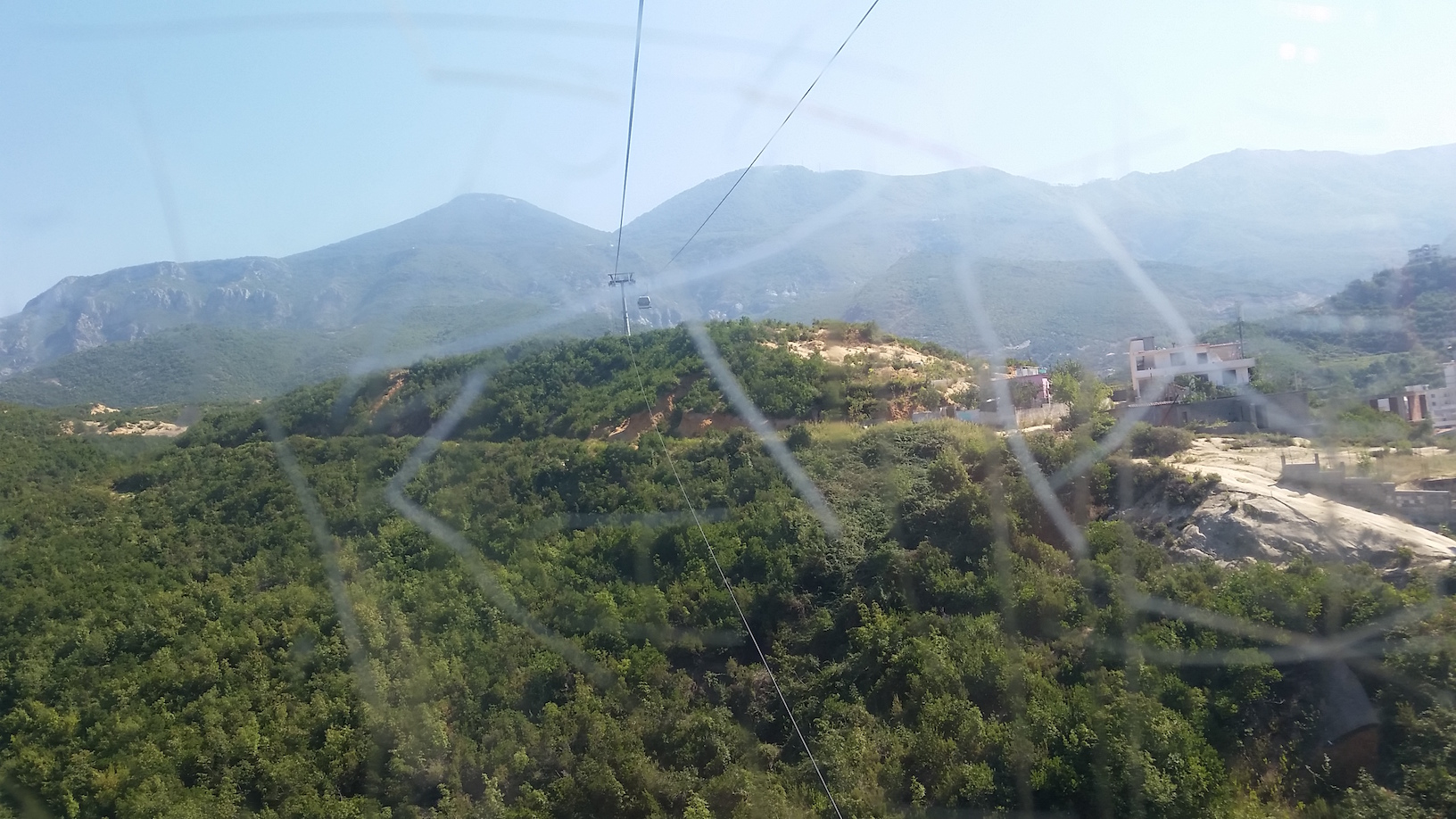 View from the cable car, scratched glass and all